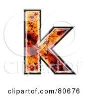 Autumn Leaf Texture Symbol Lowercase Letter K