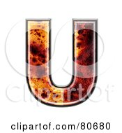 Royalty Free RF Clipart Illustration Of An Autumn Leaf Texture Symbol Capital Letter U by chrisroll