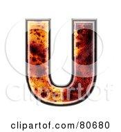 Autumn Leaf Texture Symbol Capital Letter U by chrisroll