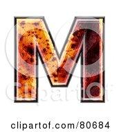 Autumn Leaf Texture Symbol Capital Letter M