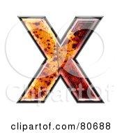 Autumn Leaf Texture Symbol Capital Letter X
