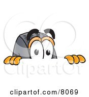 Clipart Picture Of A Rubber Tire Mascot Cartoon Character Peeking Over A Surface