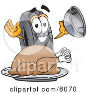 Clipart Picture Of A Rubber Tire Mascot Cartoon Character Serving A Thanksgiving Turkey On A Platter by Toons4Biz