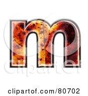 Autumn Leaf Texture Symbol Lowercase Letter M