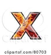 Autumn Leaf Texture Symbol Lowercase Letter X by chrisroll