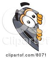 Rubber Tire Mascot Cartoon Character Peeking Around A Corner