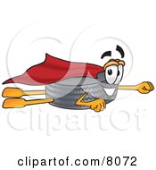 Rubber Tire Mascot Cartoon Character Flying Dressed As A Super Hero