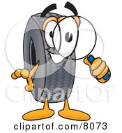 Clipart Picture Of A Rubber Tire Mascot Cartoon Character Looking Through A Magnifying Glass