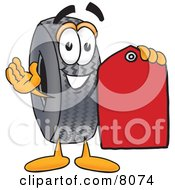 Rubber Tire Mascot Cartoon Character Holding A Red Sales Price Tag