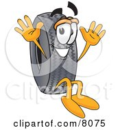 Clipart Picture Of A Rubber Tire Mascot Cartoon Character Jumping by Toons4Biz