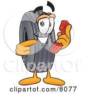 Rubber Tire Mascot Cartoon Character Holding A Telephone
