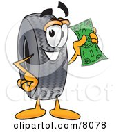 Rubber Tire Mascot Cartoon Character Holding A Dollar Bill