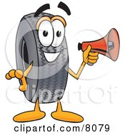 Clipart Picture Of A Rubber Tire Mascot Cartoon Character Holding A Megaphone by Toons4Biz