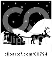 Royalty Free RF Clip Art Illustration Of A Silhouetted Single Reindeer Pulling Santas Sleigh On A Snowy Night by Pams Clipart
