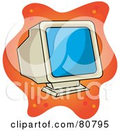 Royalty Free RF Clipart Illustration Of An Old Fashioned Computer Monitor Screen On Orange