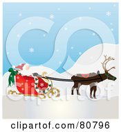 Royalty Free RF Clipart Illustration Of A Single Reindeer Pulling Santas Sleigh On A Snowy Day by Pams Clipart
