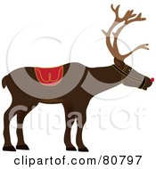 Royalty Free RF Clipart Illustration Of A Profiled Red Nosed Christmas Reindeer by Pams Clipart