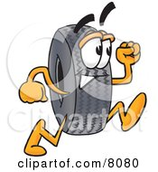 Clipart Picture Of A Rubber Tire Mascot Cartoon Character Running
