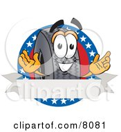 Rubber Tire Mascot Cartoon Character With Stars And A Blank Label