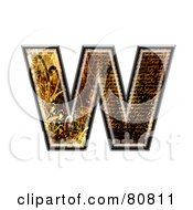 Royalty Free RF Clipart Illustration Of A Grunge Texture Symbol Lowercase Letter W by chrisroll