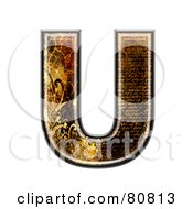 Royalty Free RF Clipart Illustration Of A Grunge Texture Symbol Capitol Letter U by chrisroll