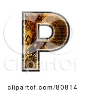 Royalty Free RF Clipart Illustration Of A Grunge Texture Symbol Capitol Letter P by chrisroll