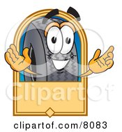 Rubber Tire Mascot Cartoon Character With A Blank Tan Label