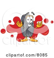 Rubber Tire Mascot Cartoon Character With A Red Paint Splatter
