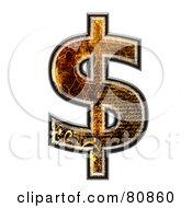Royalty Free RF Clipart Illustration Of A Grunge Texture Symbol Dollar by chrisroll