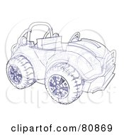 Royalty Free RF Clipart Illustration Of A Technical Sketch Drawing Of An Off Road Atv Or Buggy