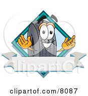 Clipart Picture Of A Rubber Tire Mascot Cartoon Character With A Blank Ribbon Label
