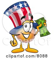 Clipart Picture Of An Uncle Sam Mascot Cartoon Character Holding A Dollar Bill