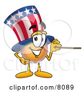 Uncle Sam Mascot Cartoon Character Holding A Pointer Stick