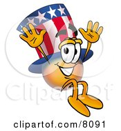 Clipart Picture Of An Uncle Sam Mascot Cartoon Character Jumping