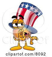 Uncle Sam Mascot Cartoon Character Whispering And Gossiping