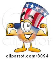 Clipart Picture Of An Uncle Sam Mascot Cartoon Character Flexing His Arm Muscles