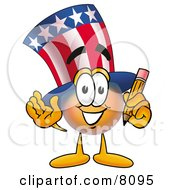 Clipart Picture Of An Uncle Sam Mascot Cartoon Character Holding A Pencil by Toons4Biz