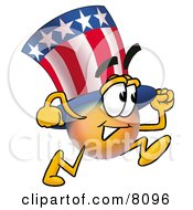 Uncle Sam Mascot Cartoon Character Running
