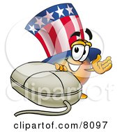 Clipart Picture Of An Uncle Sam Mascot Cartoon Character With A Computer Mouse