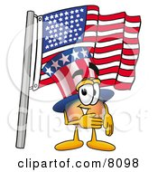 Uncle Sam Mascot Cartoon Character Pledging Allegiance To An American Flag