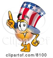 Uncle Sam Mascot Cartoon Character Pointing Upwards