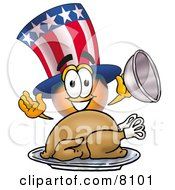 Clipart Picture Of An Uncle Sam Mascot Cartoon Character Serving A Thanksgiving Turkey On A Platter