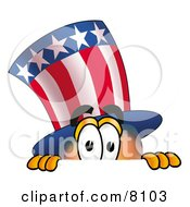 Clipart Picture Of An Uncle Sam Mascot Cartoon Character Peeking Over A Surface by Toons4Biz