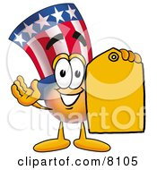Uncle Sam Mascot Cartoon Character Holding A Yellow Sales Price Tag