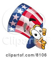 Clipart Picture Of An Uncle Sam Mascot Cartoon Character Peeking Around A Corner by Toons4Biz