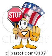 Clipart Picture Of An Uncle Sam Mascot Cartoon Character Holding A Stop Sign by Toons4Biz