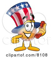 Clipart Picture Of An Uncle Sam Mascot Cartoon Character Holding A Telephone by Toons4Biz