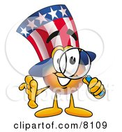 Clipart Picture Of An Uncle Sam Mascot Cartoon Character Looking Through A Magnifying Glass by Toons4Biz
