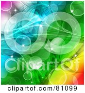 Royalty Free RF Clipart Illustration Of A Colorful Bubble And Sparkle Background With A Paper Texture by MacX