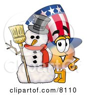Uncle Sam Mascot Cartoon Character With A Snowman On Christmas